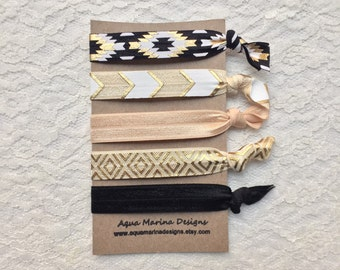 Elastic Hair Ties - Black & Gold Aztec Collection
