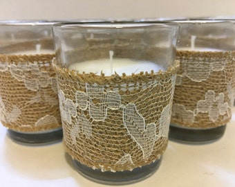 Set of 12 Wedding Votive Candle Holders, Burlap Lace Votive Candle, Wedding Table Decor, Wedding Candles, Votive Candle, Shabby Chic Wedding