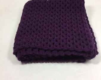 Blanket, Lap Blanket, Chair Throw, Office Blanket, Wheelchair Blanket, Cover, Crocheted, Purple