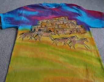 Wild horses, pueblos, western sunset, man's medium silk screened and dyed t-shirt, hot pink, turquoise, yellow orange, chartreuse, browns