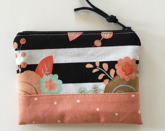 Floral print on black and white stripes coin purse