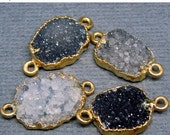 15% Valentines Day Dark Quartz Druzy  Petite Double Bail Freeform Pendant with Gold Electroplated Edge - Double Bail Connector Link (S28B4-0