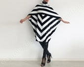URBAN black white sweater dress women black  stripe turtleneck outerwear poncho oversized winter fall women fashion plus size maternity