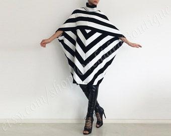 URBAN black white sweater dress women black  stripe turtleneck outerwear poncho oversized winter fall women fashion plus size maternity