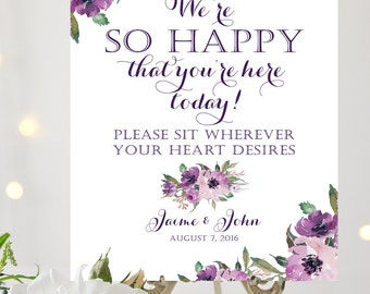 We're So Happy   Sit Wherever Sign   Various Sizes   Add Your Names   Vintage   Eggplant   Purple Blooms   I Create and You Print