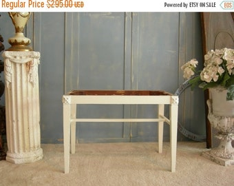 ON SALE SLIGH Vanity Bench Stool Seat Painted French White To Be Recovered The Shabby Chic Furniture