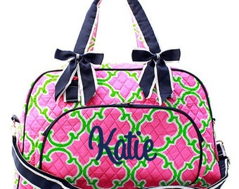 Monogrammed Quilted Duffle Bag -Large Personalized Quilted Duffel- Quilted Overnight Tote - Diaper Bag - Personlaized Gift Duffel Bag