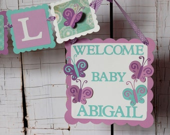 Butterfly Party Package, Butterfly Baby Shower, Butterfly Birthday Decorations, Name Banner, Door Sign
