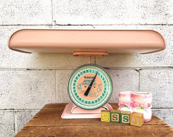 PINK Baby SCALE | Vintage (c. 1950s-1960s)  Hanson Nursery Scale | Painted Metal Infant Scale with Tray | Retro Baby Photography Prop