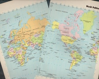 Antique WORLD Map 1960s ORIGINAL Map of the World
