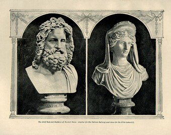 1912 Antique print, ANCIENT ROMAN GOD Sculptures Jupiter and Juno wall art vintage b/w lithograph illustration chart