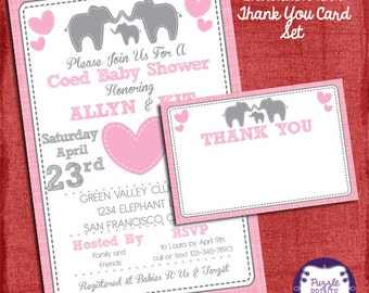Elephant Baby Shower Girl Invitation and Thank You Card Set - Baby Shower Invitation- Party-I design you print