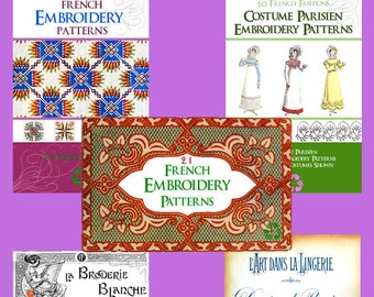 New Collection of 5 x Top Selling FRENCH EMBROIDERY PATTERN Books ~ Monograms Designs and Patterns to print out and use Instant Download