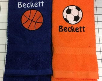 Personalized sport towels, basketball, volleyball, soccer, baseball, softball, football or another sport, message for team orders