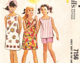 1960's Girls' Shift Dress, Top, and Shorts - Vintage McCall's Sewing Pattern  7156 - Size 10