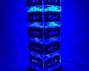 Repurposed Blue Cassette Tape Lamp Mixtape Light