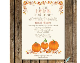 Lil PUMPKIN Baby SHOWER INVITATION - Fall Baby Shower Printed or Digital/Printable File