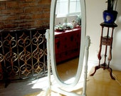 Hand Painted White/Cream Cheval Oval Mirror Full Body Length Wood Floor Standing Mirror