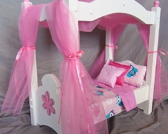 American Girl Doll: Doll canopy bed in our new pink owl bedding material and handmade wooden flower applique, 8 Pieces