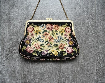 1930s 1940s petit point purse . vintage tapestry handbag