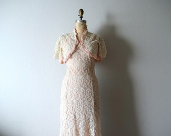 1930s dress . vintage tambour lace gown . wedding dress