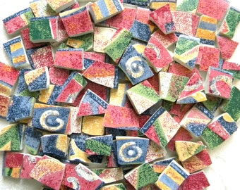Mosaic China Tiles - SUE ZIPKIN - Recycled Designer Plates - 50 Tiles