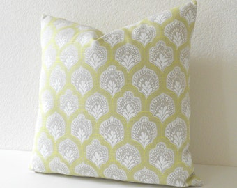 Both sides, Citrine yellow, tan and white geometric boho floral decorative pillow cover