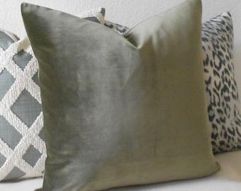 Olive green velvet decorative pillow cover