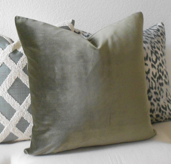 Olive Green Decorative Pillow : Olive green velvet decorative pillow cover by pillowflightpdx