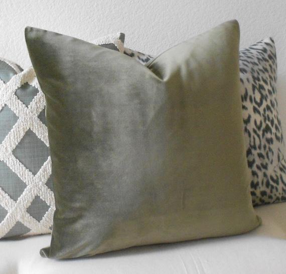 Olive green velvet decorative pillow cover by pillowflightpdx