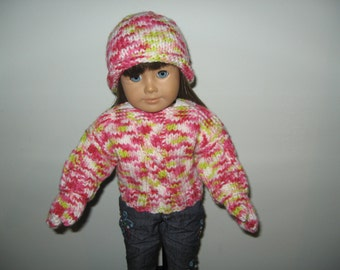 "Hand-Knit Pink White & Lime Green multicolor Cable Sweater, Hat and Mittens for 18"" 18 inch Dolls will fit American Girl"