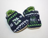 Seattle seahawks baby shoes sports baby shoes crib shoes baby booties baby slippers indoor shoes house shoes silver seahawk moccs