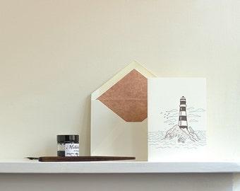 Lighthouse Letterpress Greetings Card
