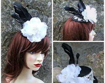 handmade goth  mini hat, hair  fascinator