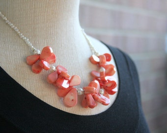 Coral and pearl necklace, statement necklace, necklace, freshwater pearls, coral, beach jewelry