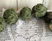 6 Green Rag Balls - Vintage Fabric Scrap Balls, 19th c. Green Cotton, Home Decor, Bowl Filler, Prim Green Rag Ball Set, Dark Spring Green