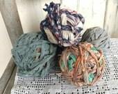 Vintage Rag Balls - Retro Fabric Scrap Balls, 19th c. Scrap Cotton, Decor + Bowl Filler, Prim Bright Rag Ball Set, Multi-Colored Decor