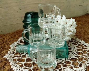Retro Small Beer Mug Collection - Vintage Servingware + Home Decor, Gift for Beer Lover, Mid Century Gift Ware, Pressed Glass Drink Ware