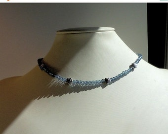 Clearance Sale Navy Crystal Choker Necklace -  Silver tone Heart Toggle Clasp