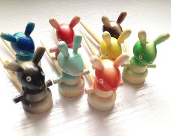 Vintage Wooden Cheese Mice - set if 8