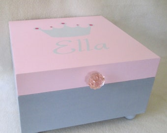 Large Memory Box - Girl's Keepsake Box -  Gray and Pink Keepsake Box- Princess Crown - Personalized - Gift