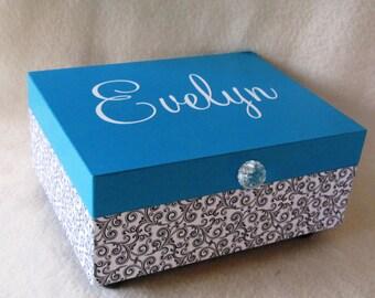 Girl Keepsake Box - Memory Box - Blue Keepsake Box - Blue and Black Keepsake Box - Personalized - Gift
