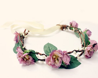 Bohemian Floral Crown, Purple Lavender bridesmaids, Bridal Headpiece. Woodland, Bohemian, Spring, Hair Tiara, flower crown, Spring, Floral