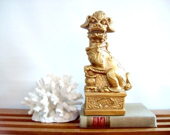 Gold Foo Dog Statue, Figurine, Bookend, Gold, Fu Dog, Hollywood Regency Chinoiserie Decor