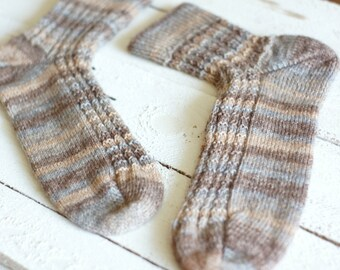 Mens socks Hand Knit striped US 10-10,5 EUR 43-44  Wool Socks brown blue ready to ship