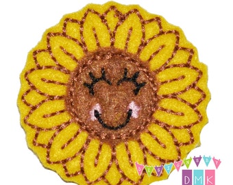 Sunny the Sunflower Felt Embroidered Embellishment Clippie Cover SET of 4 - Multiple Sets Available