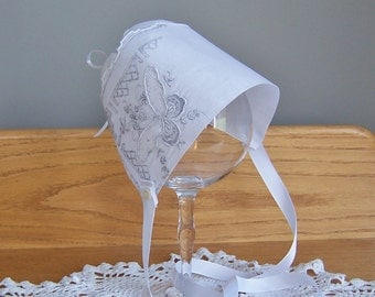 Baby Bonnet Vintage Handkerchief Christening Baptism Cap with Butterfly Design in Off White Newborn Baby Girl Gift