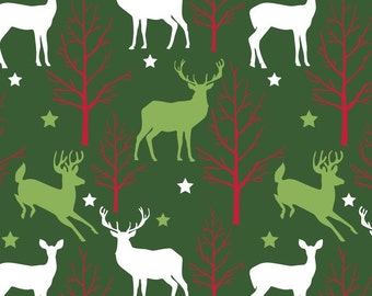 Christmas Deer and Trees Anti Pill Fleece by David Textiles Fabric by the yard