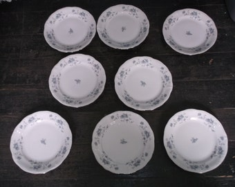 "8 Johann Haviland Germany  BLUE GARLAND Bread and  Butter B&B Plates 6 1/4"" Vintage"