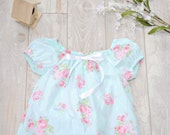Aqua and Rose Toddler Girl Cotton Nightgown with Ruffle Sizes 12M, 18M, 24M/2t, 3t, 4t, 5. Rose and Ruffle